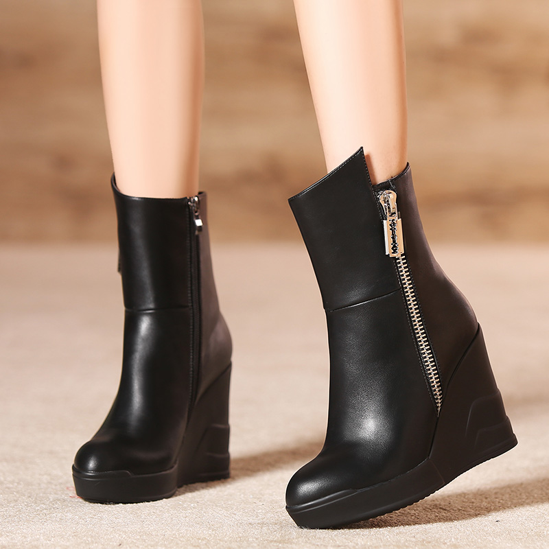 ФОТО Side zipper plus size 40 - 43 33 small yards ultra high heels boots sexy boots autumn and winter boots female boots wedge boots
