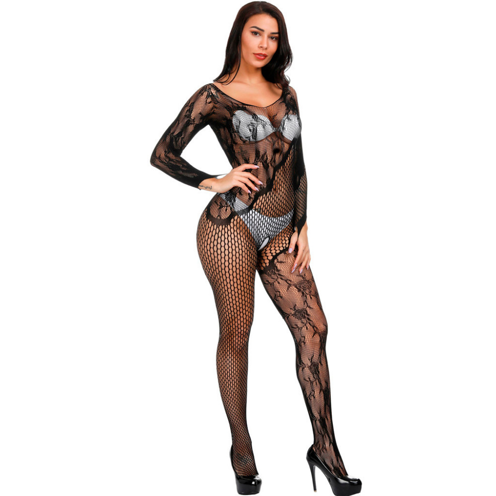 Sexy Sleepwear Lingerie Babydoll Bodysuit Mesh Floral BodyStocking Intimate Open Crotch Catsuit Crotchless Underwear Body Renda