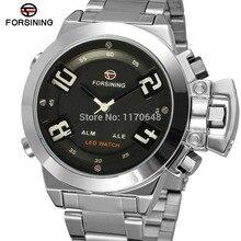 Новые! relogio masculino Forsining FSG8093Q4S2 кварцевые аналого-цифровой СВЕТОДИОДНЫЙ дисплей часы для мужчин с серебряный браслет