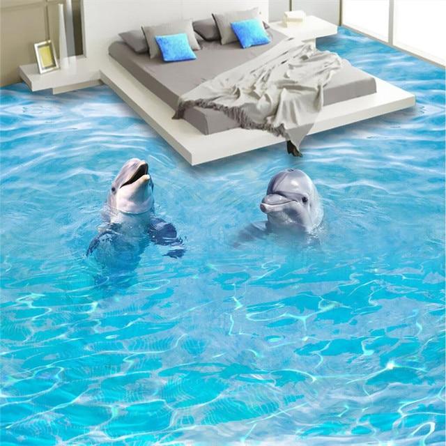 Beibehang Wallpaper Hd Dolphin Sea Waves Waterproof