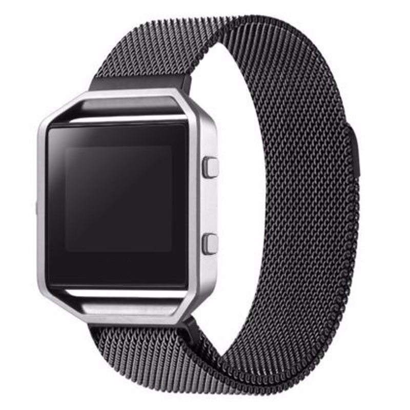 2018 Unique Luxury Black Stainless Steel Mesh Band Milanese Magnetic Loop Men Wrist Watch Strap Watchband for Fitbit Blaze Watch