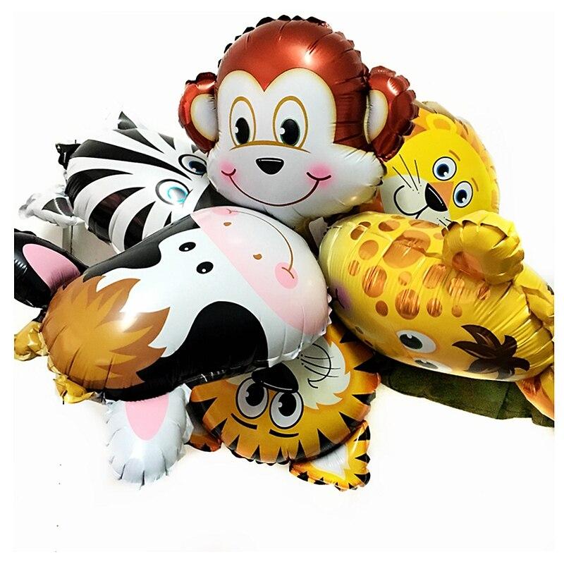 Hot Sale 6pcs Lot Jungle Animal Zoo Foil Balloons Lion Monkey Zebra