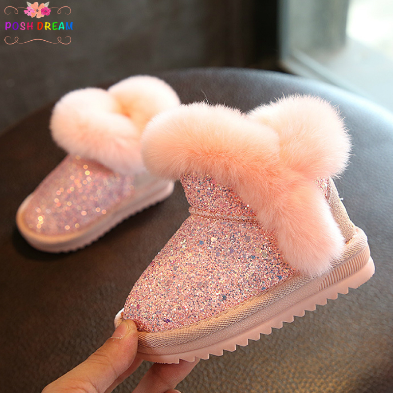 POSH DREAM Winter Infant Baby Girls Boots Shoes Real Leather Rabbit Princess Cotton Boots Thickened Warm