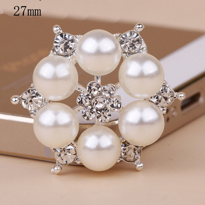 50pcs/lot 27mm Silver Gold Hair Bow Center Decorative Buttons Pearl Rhinestone Embellishment Button Diy Hair Accessories