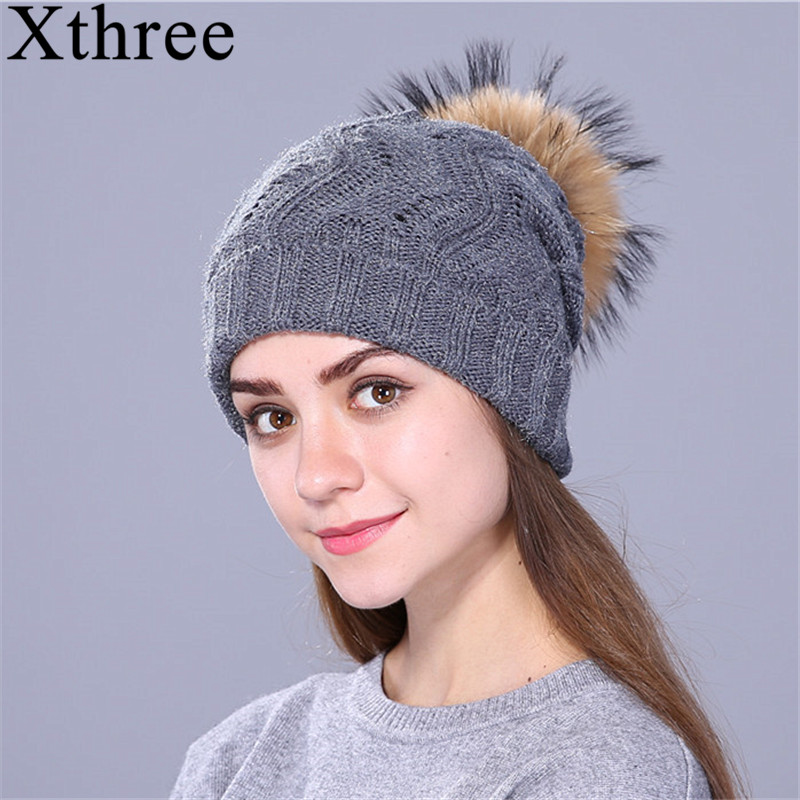 Xthree Real Raccoon Fur Pom Pom Hat Female Knitted Winter Hats For Girls Thick Gravity Falls Women's Cap   Skullies     Beanies