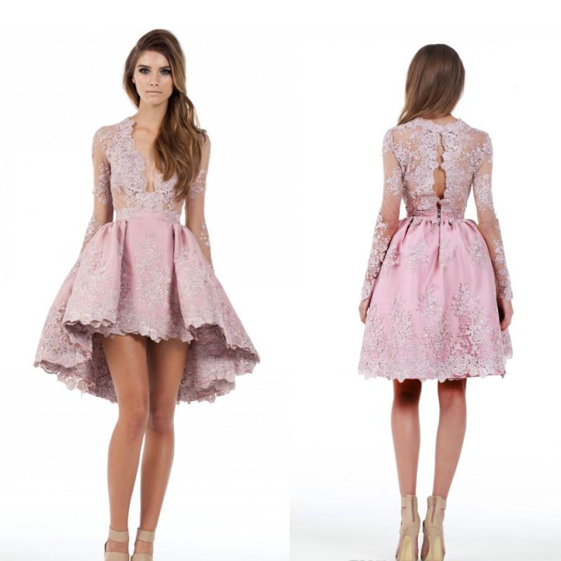 Elegant V-Neck Lace Appliques Long Sleeves High Low Cocktail Dress ...