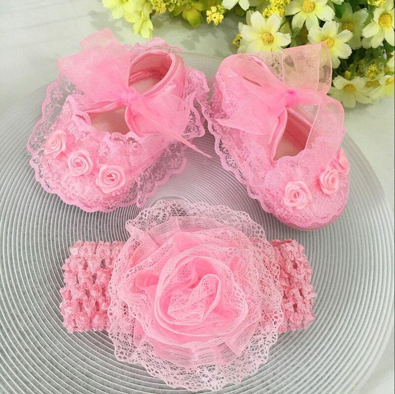 Niños flores Zapatos Zapatos de Encaje Princesa de La Muchacha Linda Diadema Inf