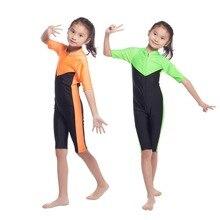 Children Girls One-piece Muslim Swimwear Top Quality Kids Girl Islamic Quick Dry Swim Wear Patchwork Bathing Suits With Zipper