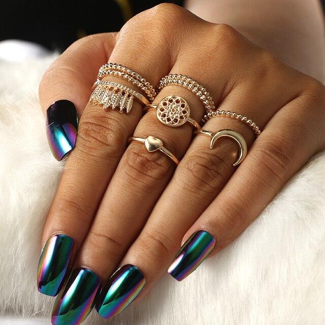 Mode Blume Stein Midi Ring Sets Crown Sterne Mond Vintage Kristall Opal Knuckle Ringe für Frauen Anillos Mujer Schmuck 9 PCS