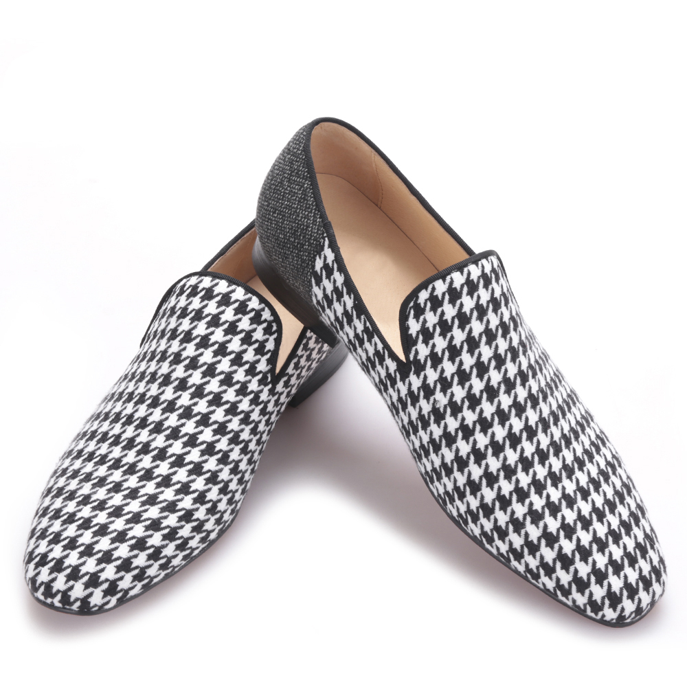 European and American trend splicing Houndstooth handmade mens shoes oxford shoes for menEuropean and American trend splicing Houndstooth handmade mens shoes oxford shoes for men