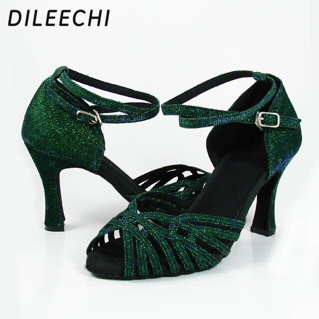 b22cbf79a4 Online Shop DILEECHI new Green flash Latin dance shoes adult women's  Ballroom dancing shoes Samba shoes Sandals for Ladies Heels 6cm 5cm |  Aliexpress Mobile