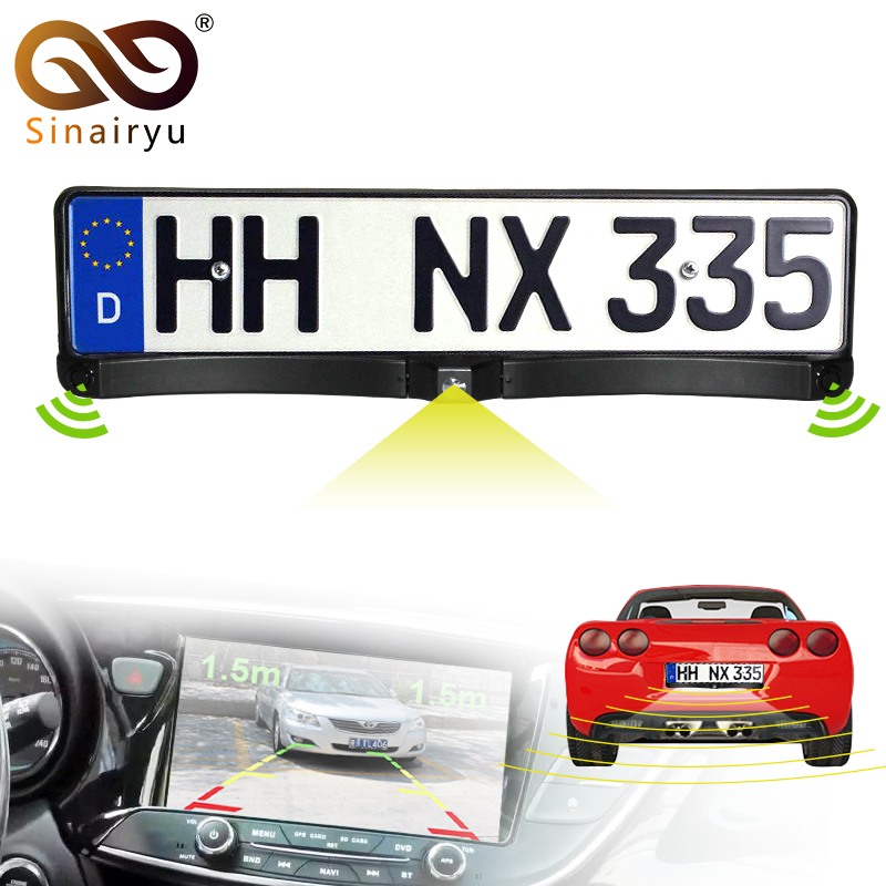 Sinairyu 3in1 Auto Video Parking Sensor with Rear View Camera European Russia License Plate Frame Backup