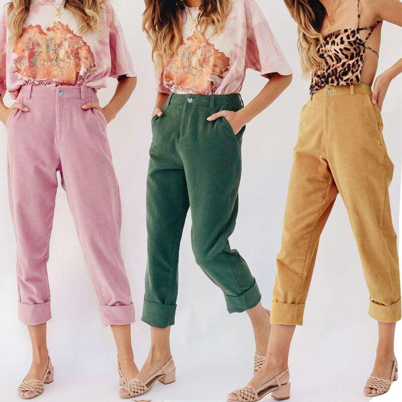 100% Kwaliteit Mode Dames Potlood Broek Hoge Taille Toevallige Corduroy Holding Enkelbandje Broek