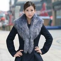 BONJEAN Grote vos bontkraag wasbeer bont decoratie jas kraag faux fur shawl sjaal cape luxe vrouwen winter warm sjaal