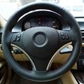 Tampa Da Roda de Direcção Do Carro de Couro preto DIY Mão-costurado para BMW E90 325i
