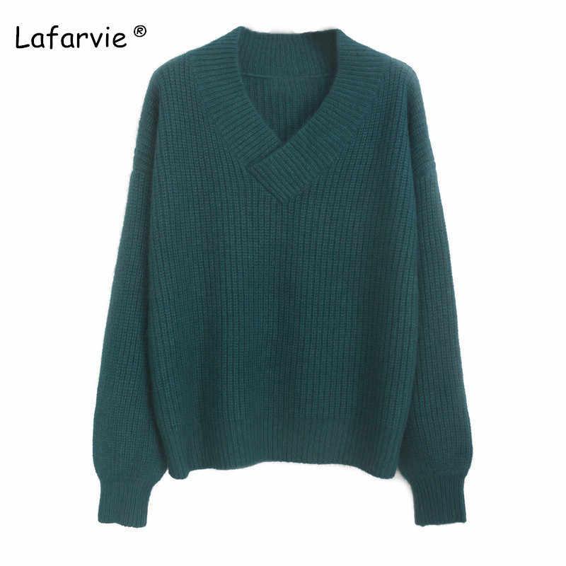 Lafarvie 고품질 캐시미어 혼합 니트 스웨터 여성 탑 가을 겨울 v 넥 풀오버 여성 따뜻한 느슨한 니트 점퍼