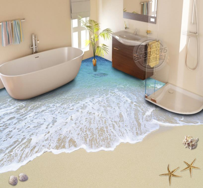 ФОТО Modern 3d floor stickers waves 3d pvc wallpaper non-slip wear self-adhesive waterproof 3d Muarls colors