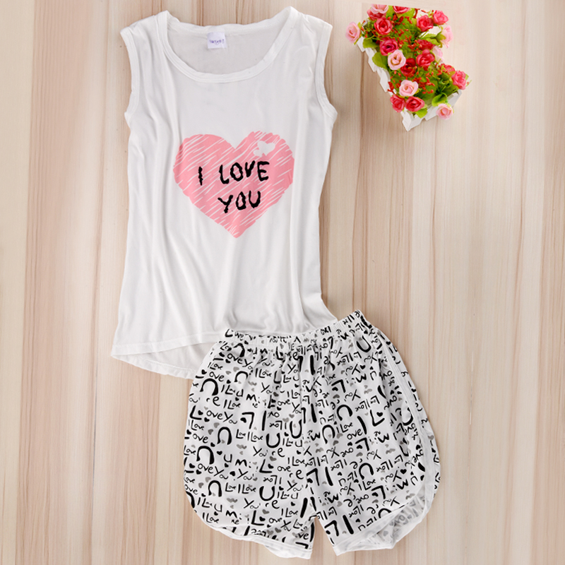 Women Sexy Lingerie cute cartoon Pyjamas Sleepwear Shirts+Shorts Underwear Nightwear Set Women Pyjamas Sleeveless Pajamas Set