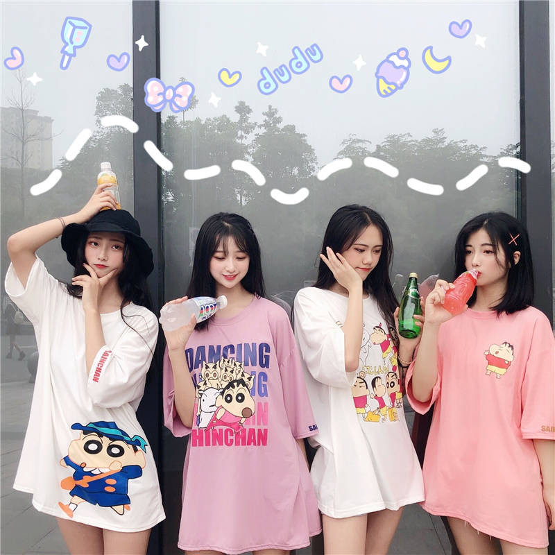 Long Crayon Shin Chan T Shirts Women Anime Tshirt Streetwear 2019 Summer Cartoon Print Plus Size T Shirt Female Cute Shirts Tops