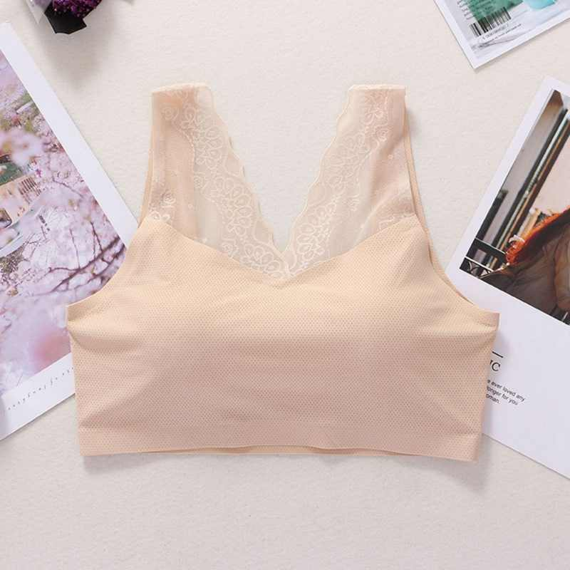 Lace Sexy Beauty Back Sports Underwear Ice Silk Solid Color Wide Shoulder Strap Sports Tube Top New