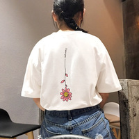 Summer Casual Women Super Cute Behind The Flowers Moon Stars Print Short Sleeved Round Neck Collar