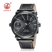 OHSEN Men's Quartz Watch Dual Time Zones Male Waterproof Fashion Casual Leather Wristwatches Men Clock Montre Homme TX2903 цены