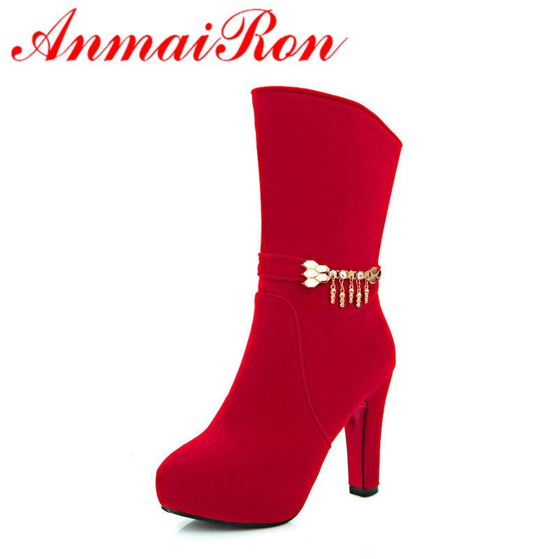 ФОТО ANMAIRON Mid-calf Boots Shoes Woman Zippers High Heels Winter Warm Sexy Red Large Size 34-42 Round Toe Motorcycle Boots Shoes