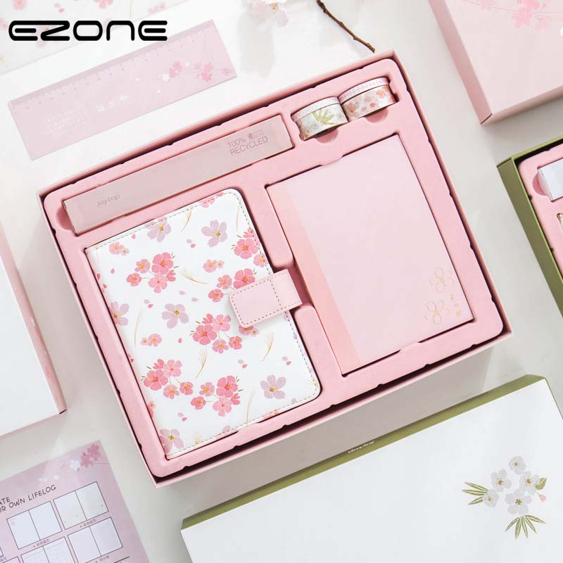 EZONE Cherry Blossoms Notebook Gift Box Package Handbook Cute Color Notepad Schedule Planner Journal Diary Hardcover Note Book 12storeez рубашка в мужском стиле изо льна песочный
