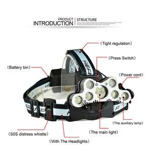 Image 4 - סופר בהיר פנס 9 LED פנס CREE XML T6 usb נטענת ראש מנורת 18650 סוללה headtorch גבוהה כוח led ראש לפיד