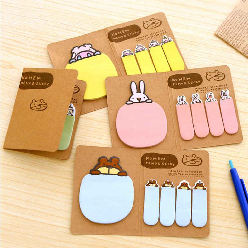 2pcs/lot Cute animals N times posted Cartoon sticky notes Folding message sticky notes School Supplies Office Stationery