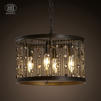 American Country Vintage Iron Gemstone Tassel E14 LED Droplight Industrial Rrestaurant Cafe Bar Candle Decorate Pendant Lamp