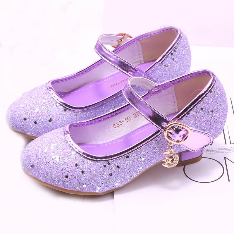 Children Princess Leather Shoes For Girls High Heel Sandals Dress Purple Kids Glitter Crystal Shoes Banquet Party Dance Wedding