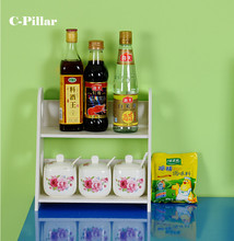 Waterproof Wood Organizer Kitchen Storage Shelf for Spice Double White Standing Kitchen Flavoring Rack Folding Holder Cozinha