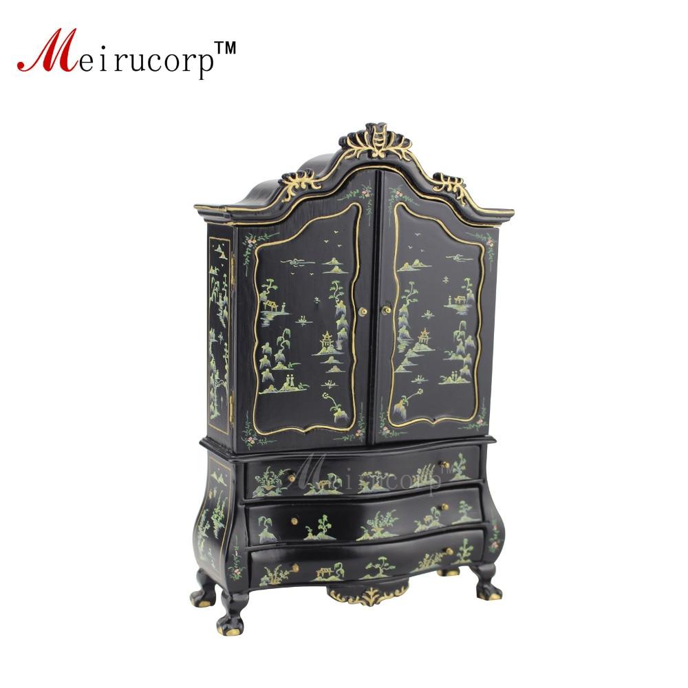 Fine 1:12 Scale Dollhouse Miniature Furniture Black Hand painted Cabinet