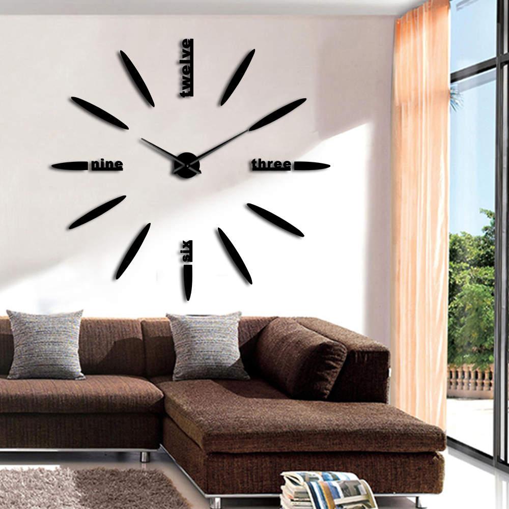 DIY English Letters Wall Clock Wall Clock Modern Design Frameless Silent Giant  3D Quartz  Wall Clock Watch Mirror Sticker Decor