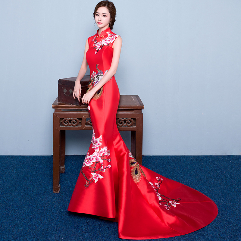 red mermaid wedding lace traditional dresses for women cheongsam chinese style long qipao evening 2016 high