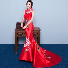 1a530f10d47 red mermaid wedding lace traditional dresses for women cheongsam chinese  style long qipao evening 2016 high quality satin