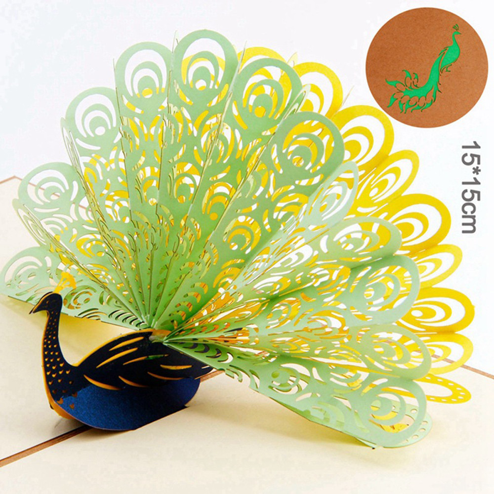 Pop Up 3d Card Peacock Design Birthday Wedding Party Greeting Card
