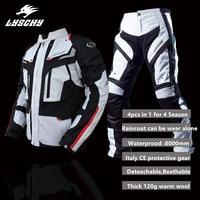 LYSCHY 2018 Waterproof Motorcycle Jacket Men Summer Winter Breathable Motorcycle Racing Suits Multifunction Moto Pants Suit