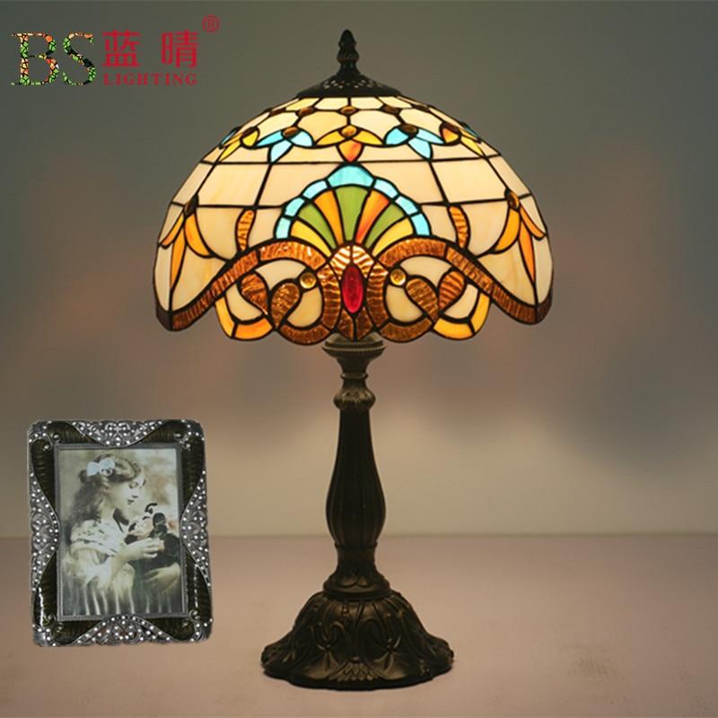Libellule vitrail abat-jour Tiffany lampe de Table Style campagnard lampe de chevet E27 110-240V