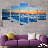 5 Pieces Canvas Wall Art Prints Sea Wave Sunset Seascape Modern Painting Wall Picture For