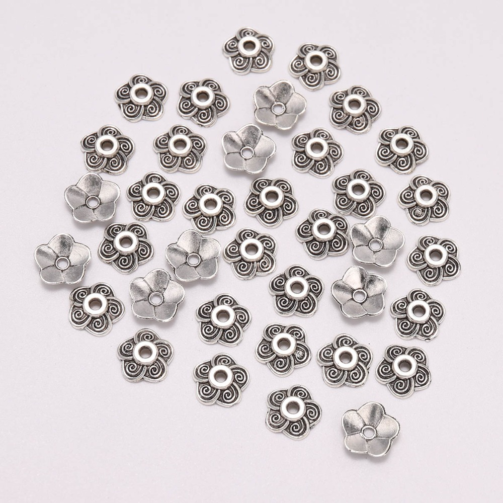 100pcs/Lot 8.5mm Silver Carved Beads Caps Plum Blossom Flower Loose Sparer Apart End Bead Caps For DIY Jewelry Making Findings