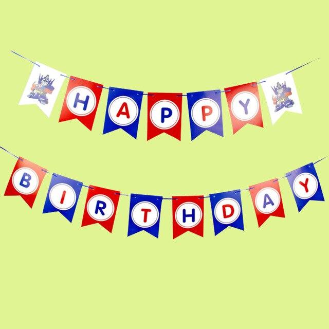 Captain America / Transform Happy Birthday Banner Garland