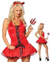 1093 Sexy halloween Teufel Kostüm Günstige Sleeveless Lace-up Design Halloween Rot Phantasie Party Kleid Für Frauen