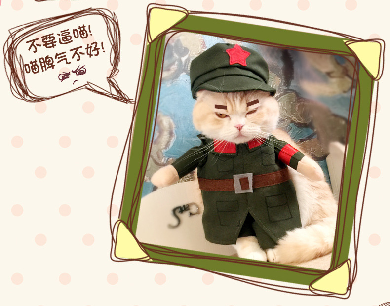 Hot sale Cats outfit Peoples Liberation Army small puppy pet Costume Clothes Chinese Red Army Soldiers Cosplay Costumes clothes