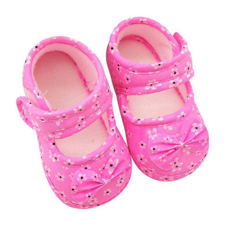 9e05652b63560 ⑤Zapatos de bebé Soft soled bowknot Patucos Foral Zapatos 11 12 13 ...