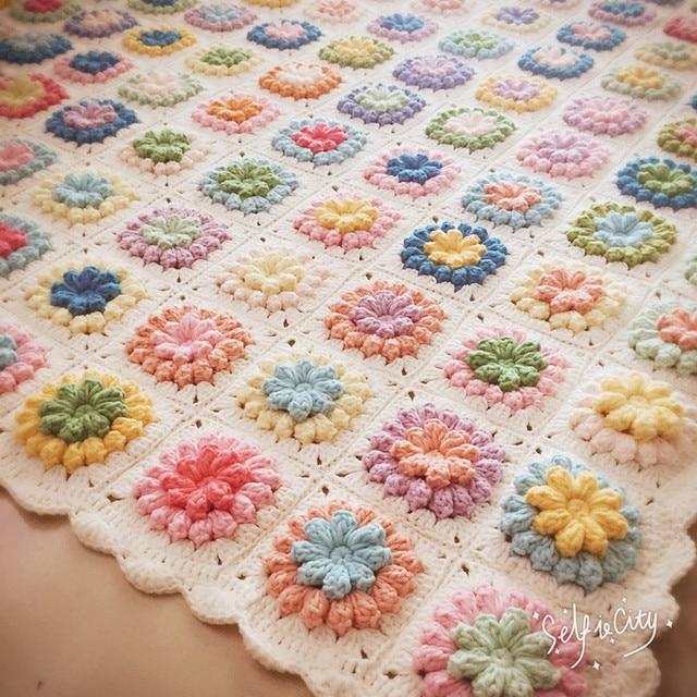120x120cm White Retro Crochet Parquet Blanket Hand Hooked Fashion