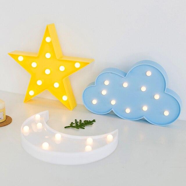 Amagle 3D Mond Lampe Nachtlicht Wolke Mond FÜHRTE Sterne Lampe Mit Batterie  Kinderzimmer Led Wandleuchte Festzelt
