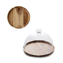 Japanese tea cake cover  Acacia wooden round fruit tray dust-proof glass pastry