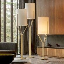 Золотой светодиодный напольный светильник, тканевый навес, современный напольный светильник светодиодный светильник ing гостиная, прихожая, кабинет, диван, офисный светильник